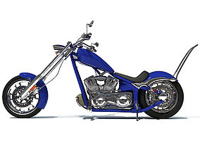 3D Blue Classic Chopper Motorcycle