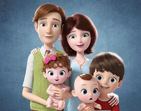 Cartoon Family Rigged V4 3D model