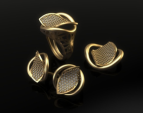 Mini set 01 jewellery design fashion gold 3D print model 2