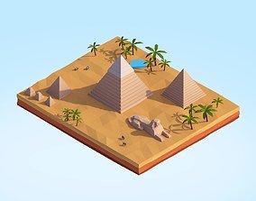 3D model Low Poly Egipt Piramids Landmark