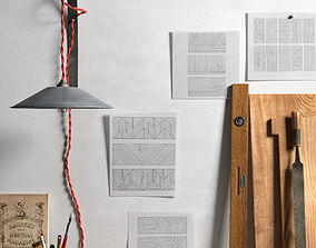 Handicraft Tools Papers and Wall Lamp 3D
