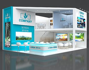3D model Exhibition Stand Booth Stall 9x7m Height 500cm 2