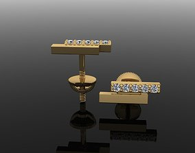3D printable model Double Diamond Uneven Bar Earring 2nd