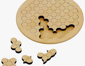 3D Wooden Circles Geometric Puzzle