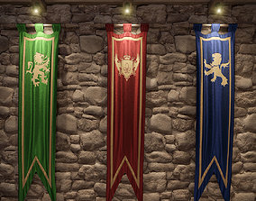 3D model Medieval flags
