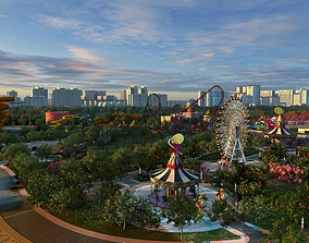 3D model animated Amusement park