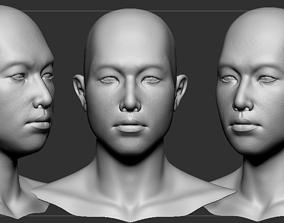 Asian man head 3D model