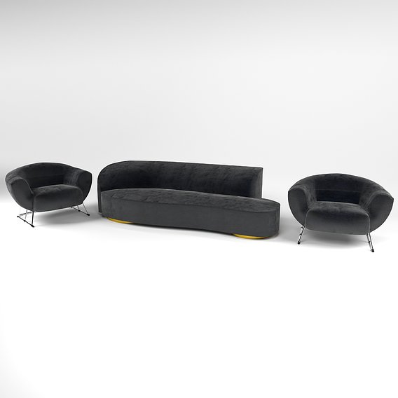 Modern comfortable and soft sofa and armchair with velvet fabric in 3 colors