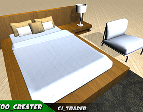 low-poly low-poly room bed set 3d model