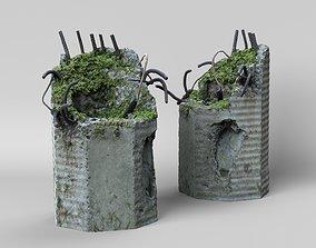 3D Broken concrete lamppost