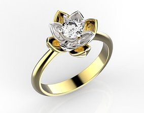 3D printable model Lotus ring with diamond