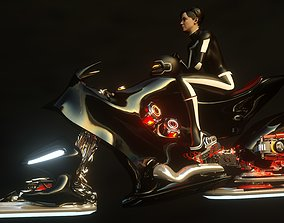girl pilot on a jet motorcycle 3D