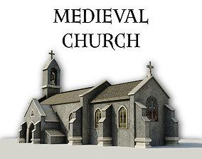 3D model Medieval Church Furnished