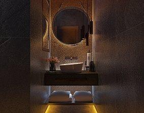 3D model Modern Dark Bathroom