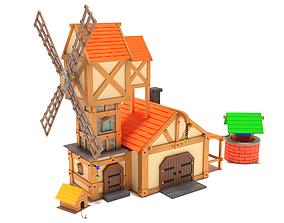 3D asset Cartoon Windmill