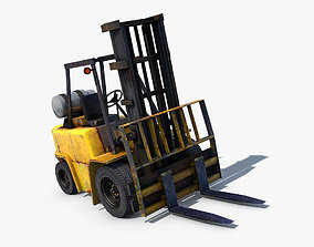 Forklift vehicle 3D asset game-ready