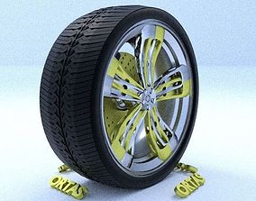 ORTAS CAR RIM 38 GAME READY RIM TIRE AND DISC 3D model