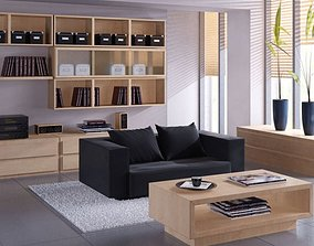 3D Small Cozy Living Room With Black Sofa