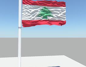 3D model Lebanon flag