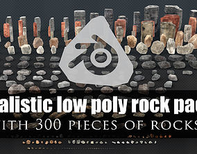 Realistic Low Poly Rock Pack - with 300 rock 3D asset 2