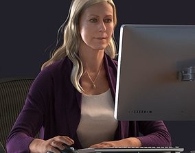 Blond female sitting behind a desk 3D