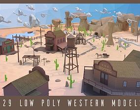 Low poly western 3D model