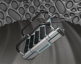 Sci-Fi Stairs - 6 - Silver Blue Neon Light 3D model
