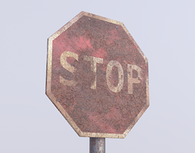 Game-ready Stop sign rusty Unity Unreal Engine 3D asset