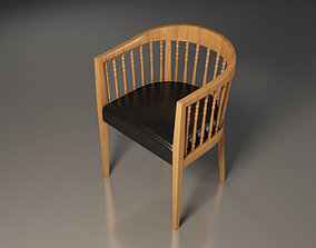 wooden chair furniture leather 3D