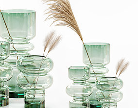 3D HM glass vases with dried flower pampas