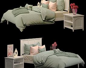 3D model Atlantic Madison White Wood bed