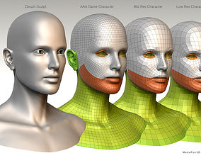 3D Character Bust BaseMesh Pack for games game-ready
