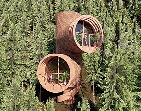 3D asset Modern Tree House 2
