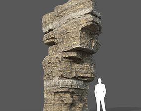 Low poly Brown Layerd Rock 02 3D asset