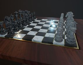 Chess and checker board game 3D asset