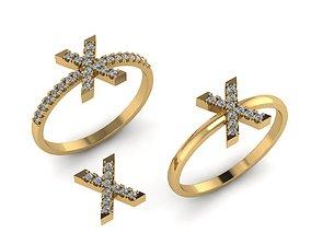 3D print model Alphabet letter ring X