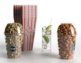 3D model Popcorn and Gin Tonic
