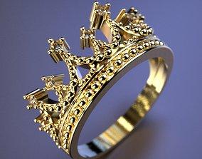 Crown ring 3D printable model diamant