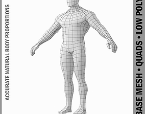 Bodybuilder Male Base Mesh in A Pose 3D model