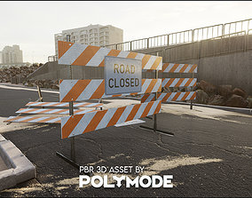 Traffic Road Block PBR Game-ready 3D asset