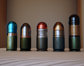 3D asset low-poly 40mm grenades pack