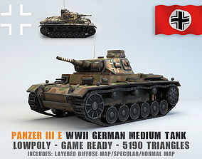 Low Poly Panzer III E medium tank 3D asset