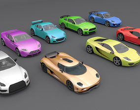 Sports Car Cartoon Low-poly 3D model game-ready