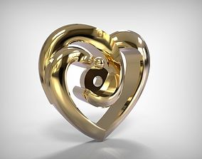 Jewelry Golden Heart Shaped Pendant 3D printable model
