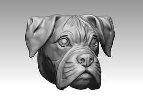 Boxer dog head 3D print model 3dprintble