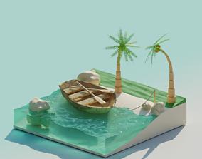 3D model blender Island