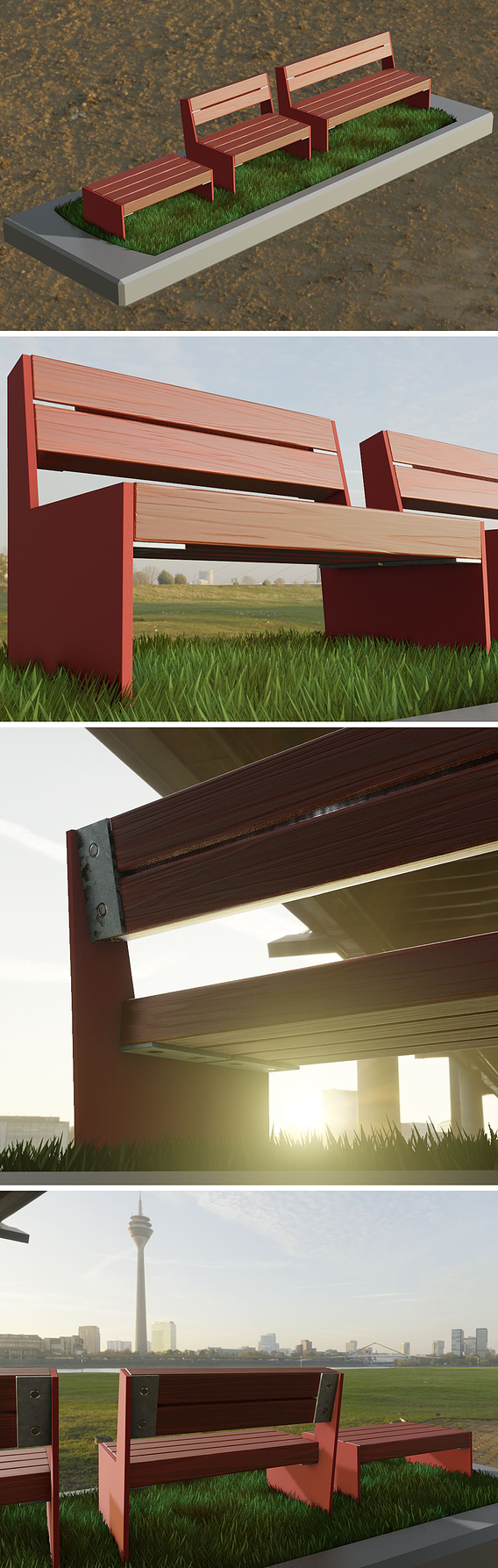 Park Bench [8] Red |Low Poly Version|