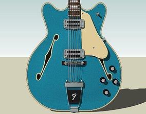 Guitar - Fender Wildwood Coronado - Turquoise 3D model 2