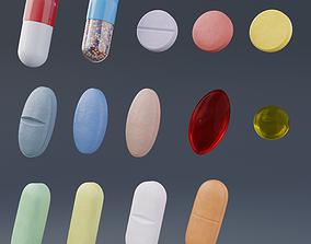 3D model low-poly Pills