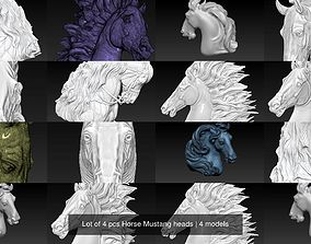 Lot of 4 pcs Horse Mustang heads 3D model